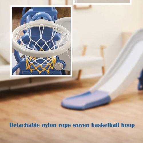 TR LAYNE Indoor/Outdoor Kids 4 Function Slide, Baby Swing & Basketball Hoop Combo. Perspective: bottom