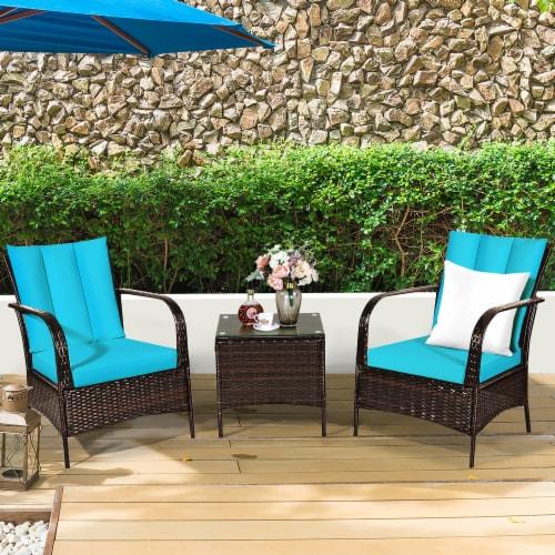 Costway 3 PCS Patio Wicker Rattan Furniture Set Coffee Table & 2 Rattan Chair W/Cushions-Turq Perspective: bottom