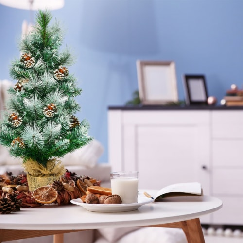 Costway 24'' Snow Flocked Artificial Christmas Tree Tabletop w/Pine Cones and Burlap Base Perspective: bottom