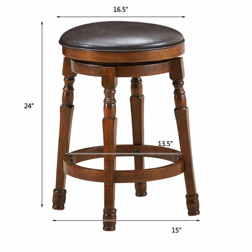 Costway Set of 2 24'' Swivel Bar Stool Leather Padded Dining Kitchen Pub Chair Backless Perspective: bottom