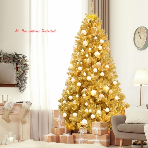 Costway 7.5ft Artificial Tinsel Christmas Tree w/1258 Tips Foldable Stand Champagne Gold Perspective: bottom