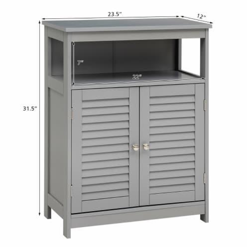 Costway Bathroom Storage Cabinet Wood Floor Cabinet w/ Double Shutter Door Gray Perspective: bottom