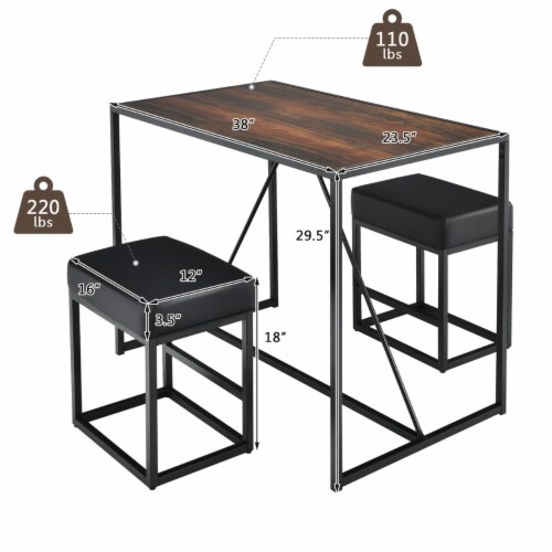 Costway 3pcs Dining Set Metal Frame Kitchen Table and 2 Stools Home Breakfast Perspective: bottom