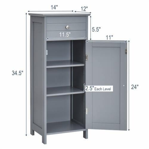 Costway Bathroom Floor Cabinet Storage Organizer Free-Standing w/ Drawer Grey Perspective: bottom