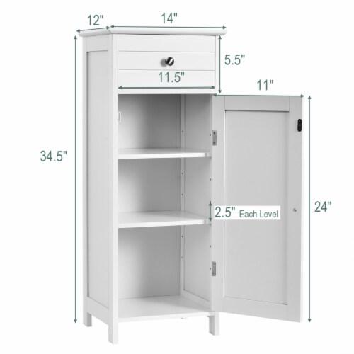 Costway Bathroom Floor Cabinet Wooden Storage Organizer Free-Standing w/ Drawer & Shelf Perspective: bottom