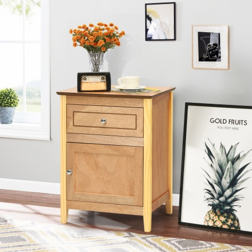 Costway Nightstand with Drawer Accent Side End Table Storage Cabinet Natural Perspective: bottom