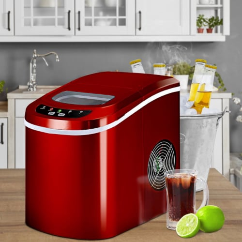 Costway Red Portable Compact Electric Ice Maker Machine Mini Cube 26lb/Day Perspective: bottom