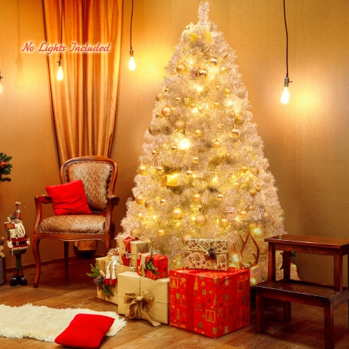 Costway 6Ft Hinged Unlit Artificial Silver Tinsel Christmas Tree Holiday w/Metal Stand Perspective: bottom
