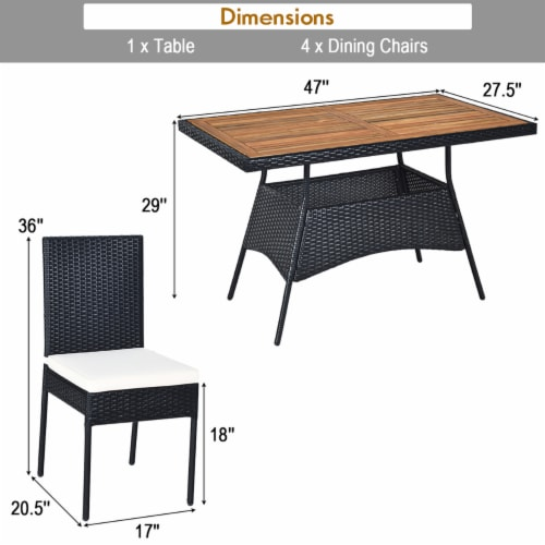 Costway 5 PCS Patio Rattan Furniture Set Wood Top Table Cushioned Chairs Garden Yard Deck Perspective: bottom