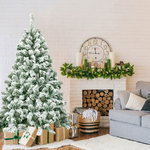 Costway 4.5FT Snow Flocked Artificial Christmas Tree Hinged w/400 Tips and Foldable Base Perspective: bottom