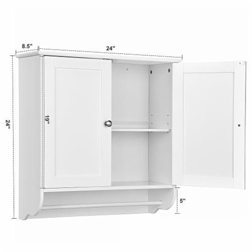 Costway Wall Mounted Bathroom Medicine Cabinet Storage Cupboard w/ Towel Bar Perspective: bottom