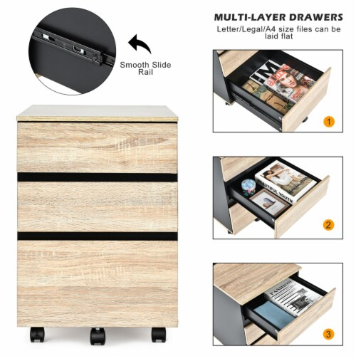Costway 3-Drawer Mobile File Cabinet Vertical Filling Cabinet for Home Office Perspective: bottom