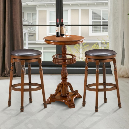 Costway Set of 2 29'' Swivel Bar Stool Leather Padded Dining Kitchen Pub Chair Backless Perspective: bottom