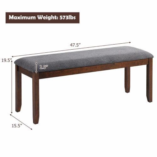 Costway Dining Bench Upholstered Entryway Bench Footstool Kitchen w/ Wood Legs Perspective: bottom