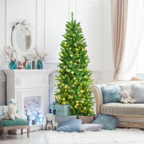 Costway 6Ft Pre-lit Artificial Pencil Christmas Tree Hinged Fir PVC Tree /250 LED Lights Perspective: bottom