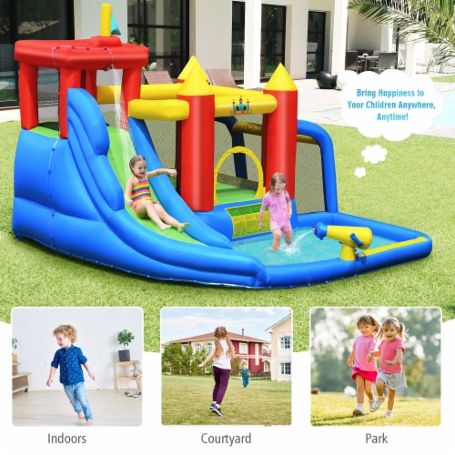 Costway Inflatable Bouncer Water Slide Bounce House Splash Pool without Blower Perspective: bottom