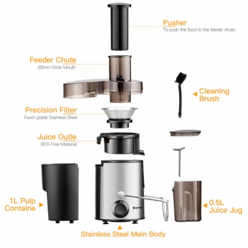 Costway Juicer Machine Centrifugal Juice Extractor Wide Mouth & 2 Speed BPA Free Perspective: bottom