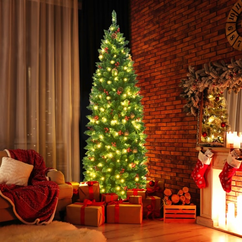 Costway 6.5Ft Pre-lit Hinged Pencil Christmas Tree w/Pine Cones Red Berries & 250 Lights Perspective: bottom