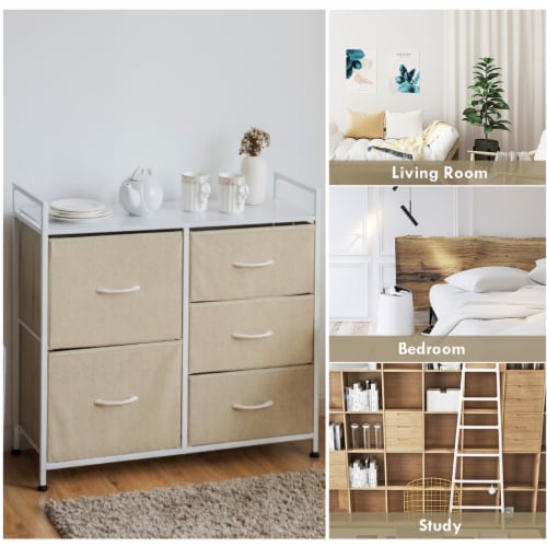 Costway 5 Drawers Dresser Storage Unit Side Table Display Organizer Dorm Room Beige Perspective: bottom