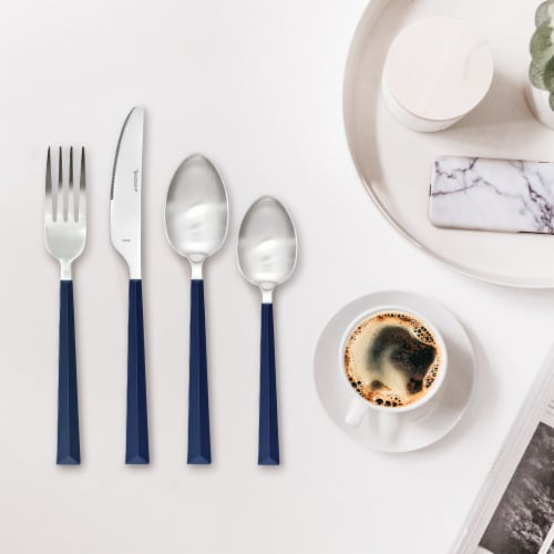 Hampton Forge Tomodachi Dali Flatware Set - Estate Blue/Silver Perspective: bottom