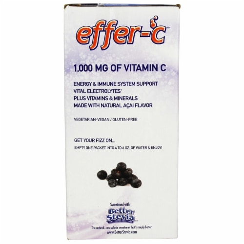 NOW Foods Effer-C Acai Effervescent Drink Mix Packets 30 Count Perspective: bottom