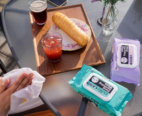 (20PK) pullio - Lavender Antibacterial Hypoallergenic Hand Sanitizer Wipes - 60ct, 1200 Wipes Perspective: bottom