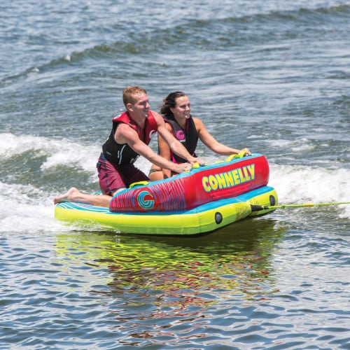 Connelly Fun 2 Person 2 Way 65x65 Inch Inflatable Boat Towable Water Inner Tube Perspective: bottom
