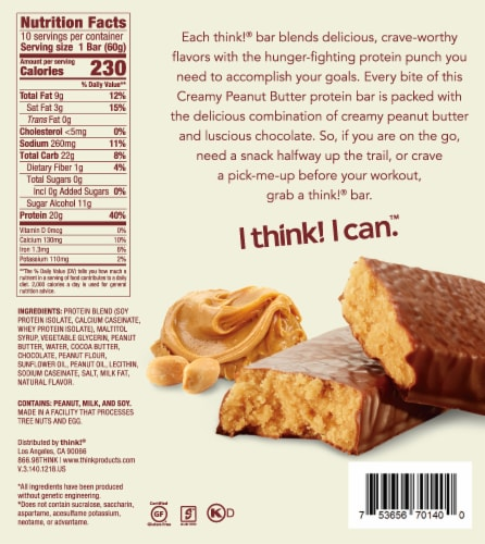 think! Creamy Peanut Butter High Protein Bars Perspective: bottom