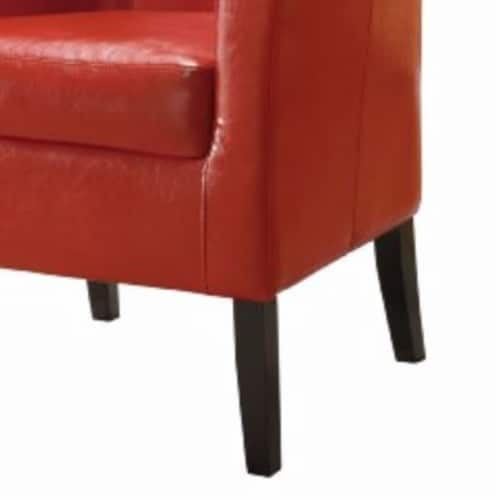 Wooden Club Chair with Faux Leather Upholstery, Red and Brown Perspective: bottom