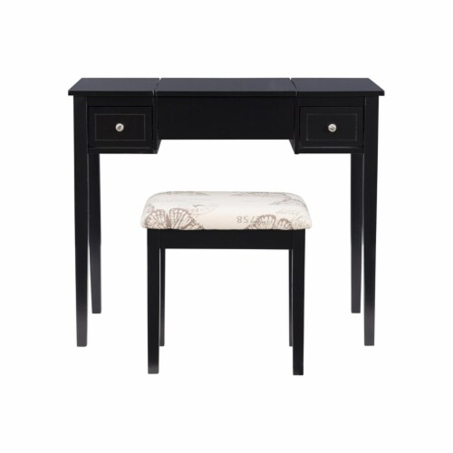Linon Butterfly Wood Vanity and Stool in Black Perspective: bottom