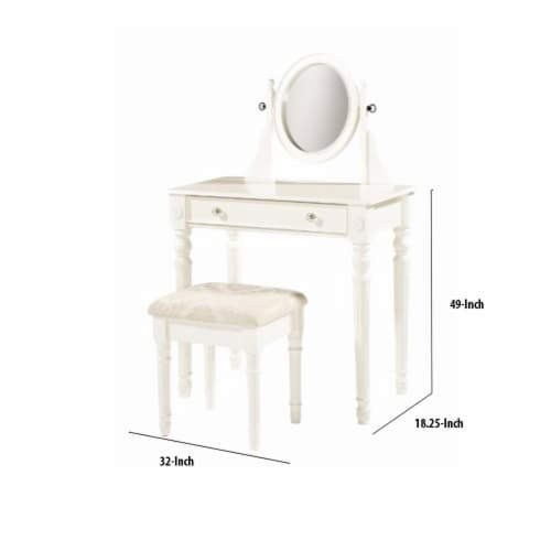 Saltoro Sherpi Wooden Vanity Set with Adjustable Mirror and Drawer, White and Beige Perspective: bottom