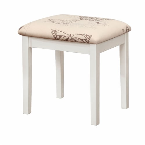 Linon Butterfly Wood Vanity and Stool in White Perspective: bottom