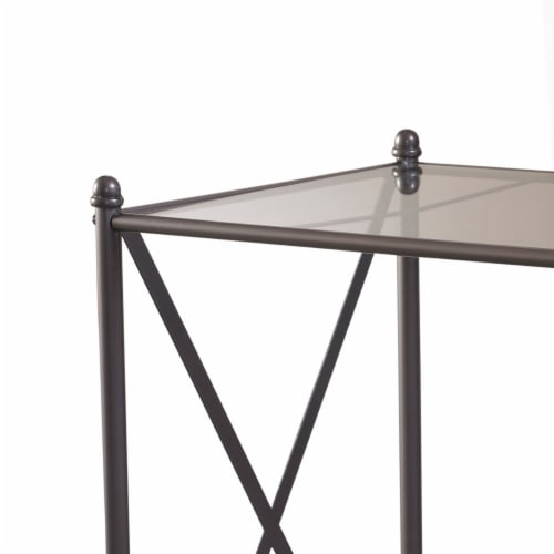 Linon Mission Hills Metal and Glass Vanity Set in Gray Perspective: bottom