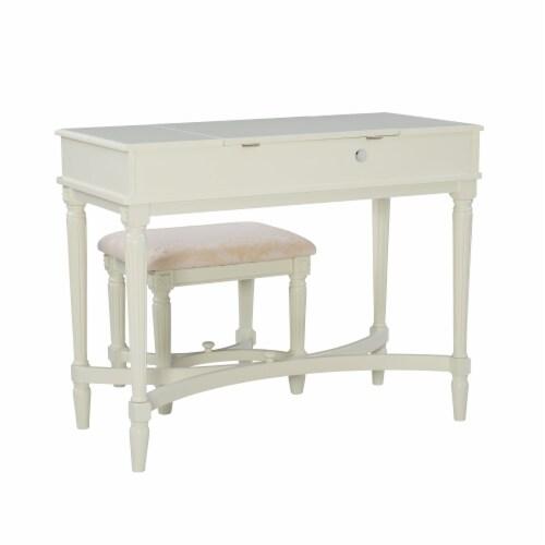 Linon Cyndi Wood Vanity Set in White Perspective: bottom