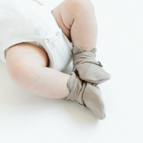 Goumikids Super Soft Organic Stay On Adjustable Baby Infant Booties, 0-3M Pewter Perspective: bottom