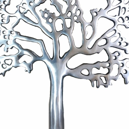 Stylish Aluminum Tree Decor with Block Base, Silver and Black ,Saltoro Sherpi Perspective: bottom