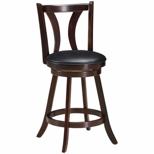 Gymax Set of 2 Swivel Bar stool 24'' Counter Height Leather Padded Dining Kitchen Chair Perspective: bottom