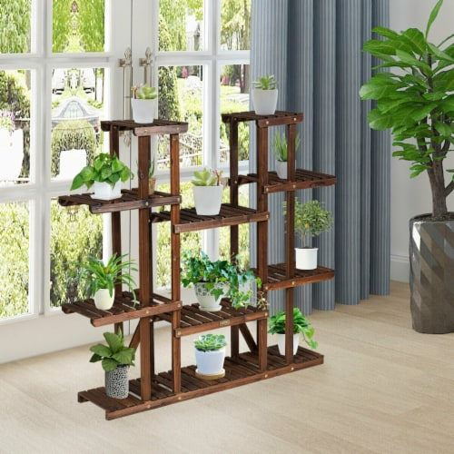 Gymax 9 Tier Wood Plant Stand 45'' High Carbonized 17 Potted Flower Shelf Rack Holder Perspective: bottom