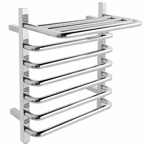 Gymax 10-Bar Wall Mounted Towel Warmer Stainless Steel Plug-in Towel Rack w/ Top Shelf Perspective: bottom