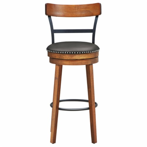 Gymax 30.5'' BarStool Swivel Pub Height kitchen Dining Bar Chair with Rubber Wood Legs Perspective: bottom