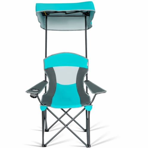 Gymax Folding Sunshade Chair Camping Chair Outdoor w/ Canopy Carrying Bag Turquoise Perspective: bottom