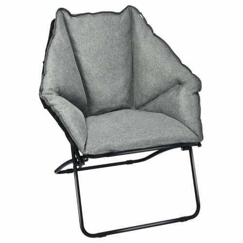 Gymax Folding Saucer Padded Chair Soft Wide Seat w/ Metal Frame Lounge Furniture Perspective: bottom