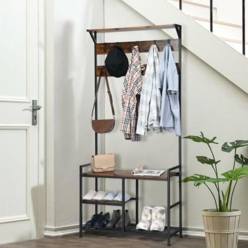Gymax 3-In-1 Industrial Coat Rack Shoe Bench Entryway Hall Tree w/Storage Shelf & 9 Hook Perspective: bottom