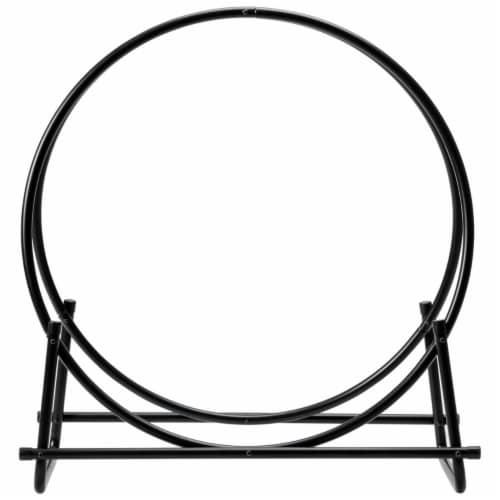 Gymax 30'' Tubular Steel Log Hoop Firewood Storage Rack Holder Round Display Perspective: bottom