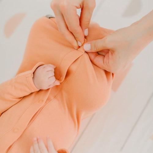 Goumikids Baby Sleeper Gown Organic Bamboo Sleepsack Pajamas, 3-6M Prickly Pear Perspective: bottom
