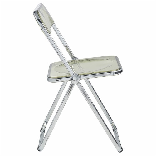 LeisureMod Lawrence Acrylic Portable Folding Chair w/ Sturdy Metal Frame, Amber Perspective: bottom