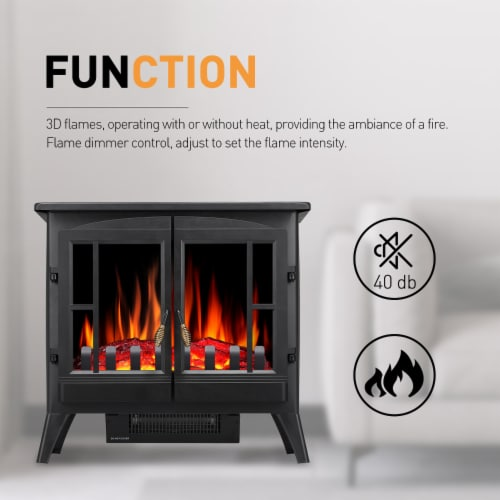"Electric Fireplace Heater Freestanding Infrared Stove Heater 3D Flame Portable 24"" Perspective: bottom"