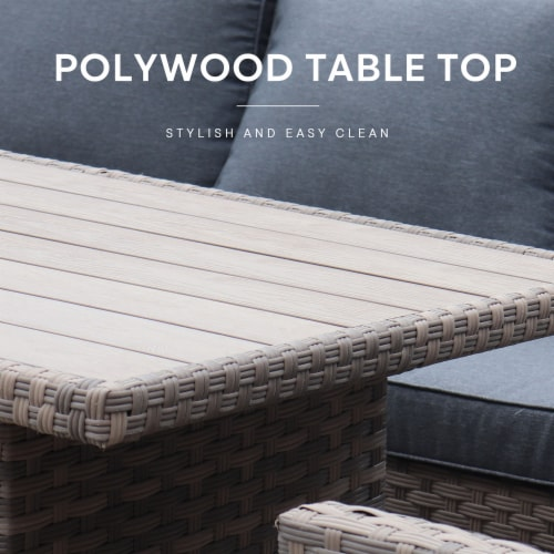 Kumo Outdoor Dining Table Set Patio Conversation Furniture Light Brown Wicker Grey Cushion Perspective: bottom