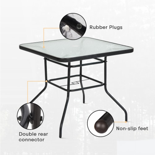 """Kumo 32"""" x 32"""" Outdoor Dining Table Tempered Glass Table Patio Umbrella Stand Perspective: bottom"""