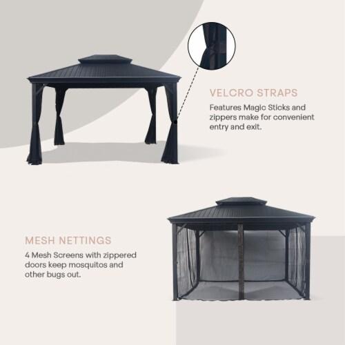 Kumo 10ft x 12ft Hardtop Gazebo Outdoor Metal Canopy Gazebo with Netting Perspective: bottom